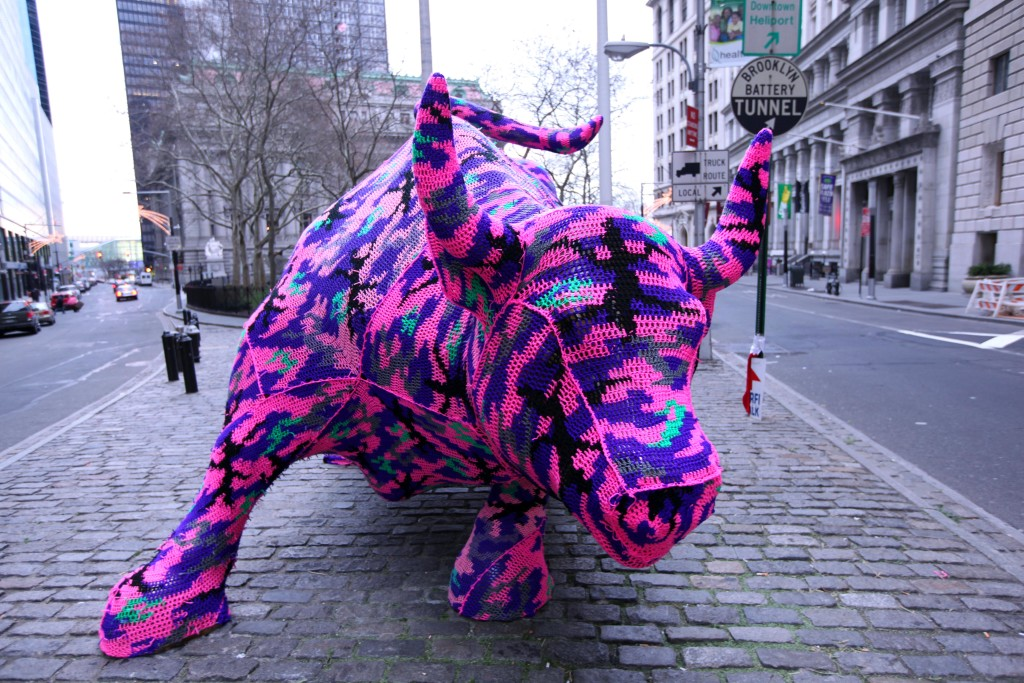 The Wall Street Bull covered in crochet by Polish artist Olek - Krause Gallery via Bloomberg